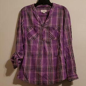 0riginal Weatherproof Vintage plaid blouse